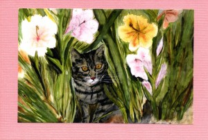 Tabby cat among iris flowers.  Paint by Jeannette Calvin.